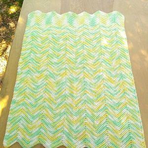 Crochet baby blanket hand crafted Chevron handmade